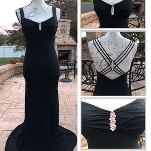 Betsy & Adam black gown, small straps Rhinestone 4